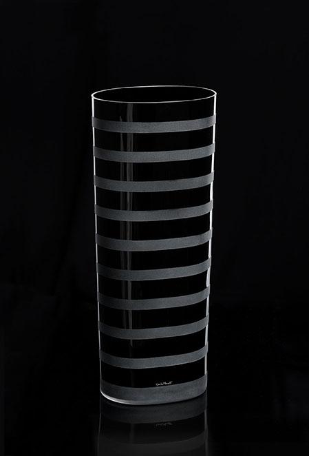 STRISE VASO-NERO. 601 N Altura:480 mm Diámetro: 300 mm CRISTAL MURANO Diseño Carlo Moretti